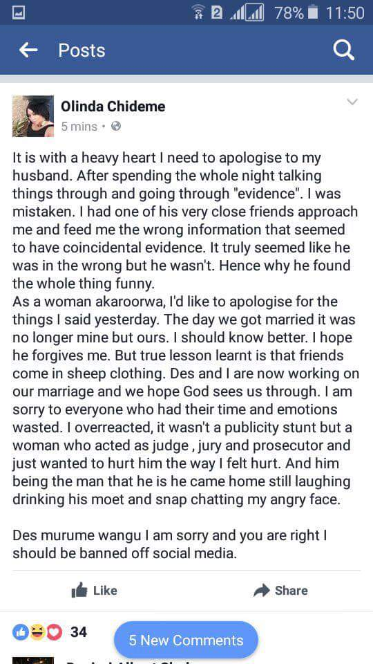 Olinda Chideme Apology to Stunner on Facebook