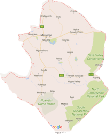 Map showing the location of Masvingo Province